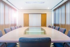 Meeting and conference room with projection screen. It is in an office building Royalty Free Stock Photos
