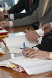 Meeting contract 2 Stock Photo