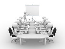 Meeting. 3d people - men, person at conference table and a flipchart Royalty Free Stock Images