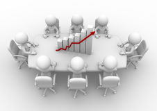 Meeting. 3d people - men, person sitting at a round table and financial chart - diagram Royalty Free Stock Photos