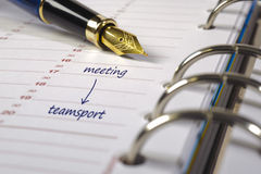 Meeting date. Calendar with date for meeting and sport stock photography