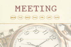 Meeting date on diary. Stock Image