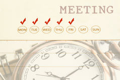 Meeting date on diary. Stock Photography