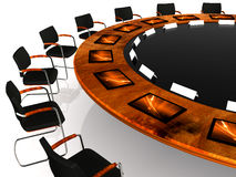 Meeting. Detail of a round table with communication tools Stock Photo