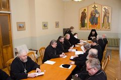A meeting of the diocesan administration of the Gomel diocese (Belarus) January 5, 2015. Stock Image