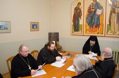 A meeting of the diocesan administration of the Gomel diocese (Belarus) January 5, 2015. Royalty Free Stock Photos