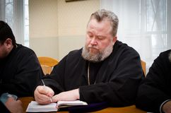 A meeting of the diocesan administration of the Gomel diocese (Belarus) January 5, 2015. Royalty Free Stock Photo