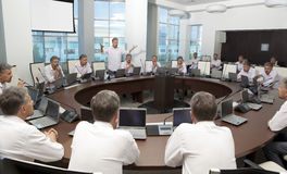 Meeting and discussion briefing. Business meeting, conference Royalty Free Stock Image
