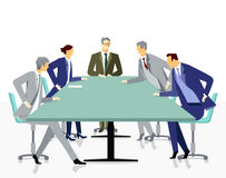 Meeting and discussion with employees. Illustration of five smartly dressed business people, four men and one woman, sitting around a green rectangular shaped vector illustration