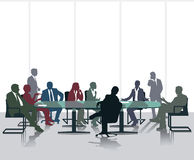 Meeting and discussion stock illustration