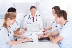 Meeting of doctors stock images