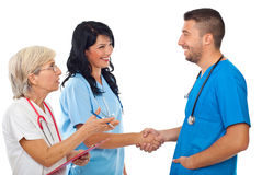 Meeting doctors and handshake Royalty Free Stock Photo