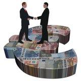 Meeting on Euro symbol. Business men meeting on giant Euro symbol illustration Royalty Free Stock Photography