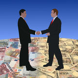 Meeting on euros and Yen Stock Photos