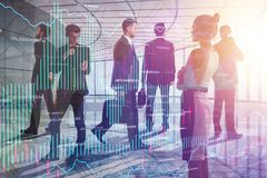 Meeting and finance concept. Businesspeople in abstract office room interior with forex chart. Meeting and finance concept. Double exposure Royalty Free Stock Photo