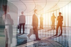 Meeting and finance concept. Group of young businesspeople on abstract office city background. Double exposure stock illustration