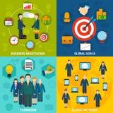 Meeting flat set. Business negotiation global network goals teamwork flat set isolated vector illustration Royalty Free Stock Photo