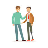 Meeting of friends, two men talking, one man with leg prosthesis, healthcare assistance and accessibility colorful stock illustration