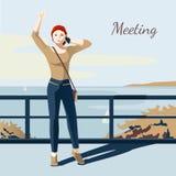 Meeting Girl Illustration Stock Photography
