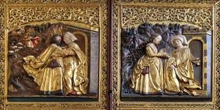 Meeting at the Golden Gate, Visoitation of the Virgin Mary, Maria am Berg church in Hallstatt Royalty Free Stock Photo