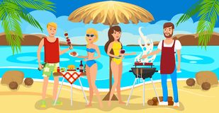 Meeting Friends on Beach. Barbecue on Beach. vector illustration