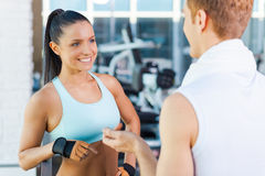 Meeting good friends in gym. Royalty Free Stock Photography