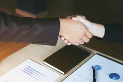 Meeting and greeting concept, Two confident Business handshake a Stock Photo