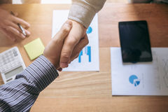Meeting and greeting concept, Two confident Business handshake a Royalty Free Stock Images