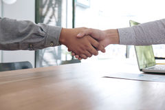 Meeting and greeting concept, Two confident Business handshake a Stock Photography