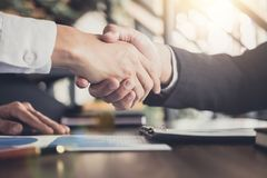 Meeting and greeting concept, Two confident Business handshake a royalty free stock photos