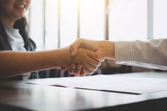 Meeting and greeting concept, Two confident Business handshake a stock photos