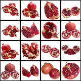 Meeting of Grenades on a white background. Pomegranate Vitamin Tropical Sweet Delicious Summer Red Seed Raw Material stock image