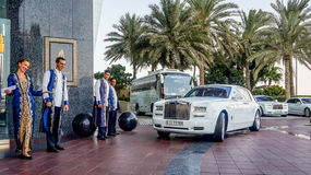 Meeting guests in the limo at the hotel Burj al Arab. Meeting guests in the limo at the hotel Royalty Free Stock Images