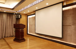 Meeting Hall Projection. Projection in  Meeting hall , office building Royalty Free Stock Photo