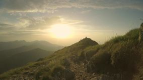 Meeting a happy little dog on a peak during sunset stock footage