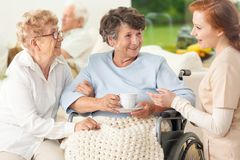 Meeting of happy and smiling senior women and caregiver in the s royalty free stock images