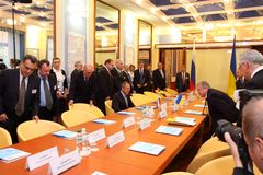 Meeting of heads of foreign affairs ministries Royalty Free Stock Image
