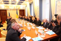 Meeting of heads of foreign affairs ministries. KHARKIV, UKRAINE - OCTOBER 6: Meeting of heads of foreign affairs ministries of Ukraine and Russian Federation royalty free stock photography