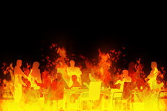Meeting from hell. Rendered illustration of a business meeting in a raging fire Stock Photo