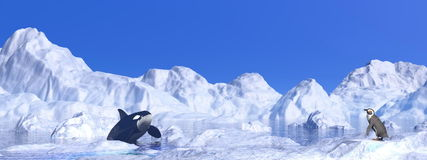 Meeting among icebergs - 3D render Stock Photography