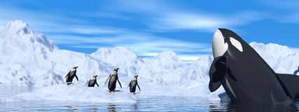 Meeting among icebergs - 3D render Stock Photo