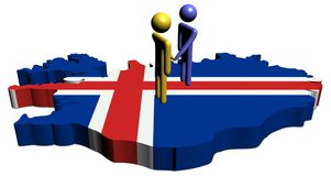 Meeting on Iceland map flag Stock Photo