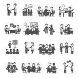 Meeting Icons Black Set Stock Photography