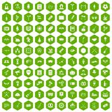 100 meeting icons hexagon green. 100 meeting icons set in green hexagon isolated vector illustration Stock Image