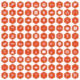 100 meeting icons hexagon orange. 100 meeting icons set in orange hexagon isolated vector illustration vector illustration