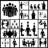 Meeting Icons Set Black Royalty Free Stock Photography