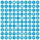 100 meeting icons set blue. 100 meeting icons set in blue hexagon isolated vector illustration stock illustration