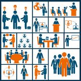 Meeting icons set flat Royalty Free Stock Photography