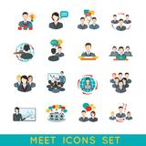 Meeting icons set flat royalty free illustration