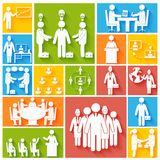 Meeting icons set flat Stock Photo